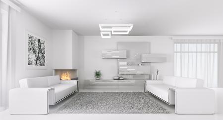 Interieur van moderne witte woonkamer met twee banken 3d render