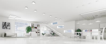 Interieur van moderne witte appartement woonkamer hall panorama 3d render