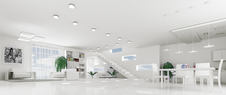 Interior of modern white apartment living room hall panorama 3d render