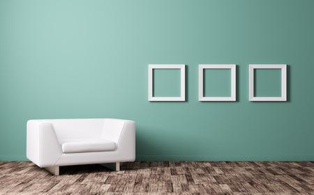Modern interieur met witte fauteuil