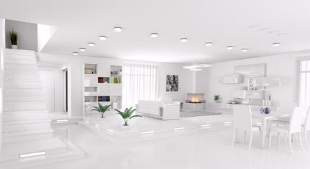 Interior of modern apartment living room hall panorama 3d render Foto de archivo