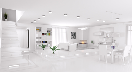 Interior of modern apartment living room hall panorama 3d render Фото со стока