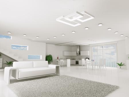 Interieur van witte appartement keuken eetkamer 3d render Stockfoto