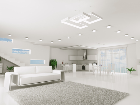 Interior of white apartment kitchen dining room 3d render