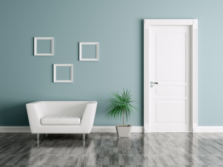 Interieur van een kamer met deur en fauteuil Stockfoto