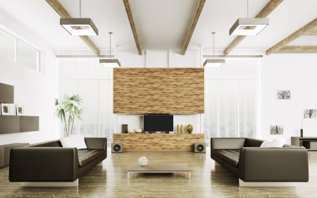 Interior of modern living room with two sofas 3d render Foto de archivo