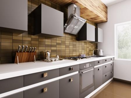 Cucina moderna con lavello, piano cottura a gas e cappa interior 3d Archivio Fotografico - 25448922