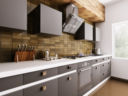 Modern kitchen with sink,gas cooktop and hood interior 3d