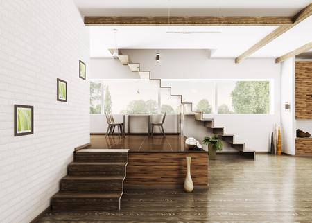 Interior of modern apartment dining room 3d render