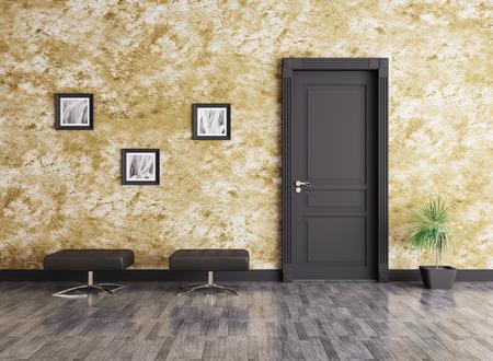 Interior of a room with door and seats Foto de archivo