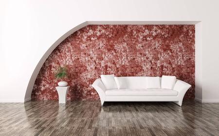 Modern interior with white sofa
