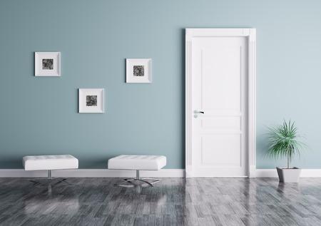Innere eines Raumes mit Tür und Sitze Standard-Bild