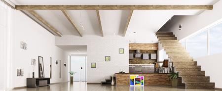 Interior of modern apartment hall kitchen panorama 3d render