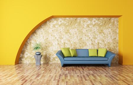 Modern interieur met blauwe bank Stockfoto