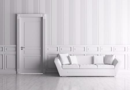 Classic interior of a room with door and sofa Foto de archivo