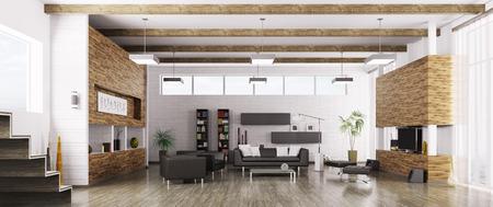 Interior of modern living room panorama 3d render Foto de archivo