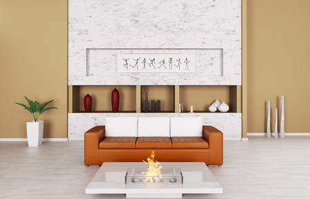 Interior of modern living room with sofa and fireplace