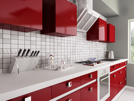 Modern red kitchen with sink,gas stove interior 3d