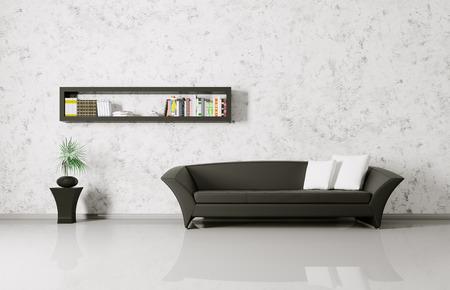 Modern interior of a room with sofa and bookshelf