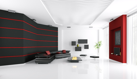 Interior of modern living room with sofa,fireplace and tv 3d render