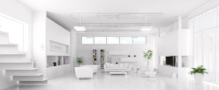 モダンな白いリビング ルーム パノラマ 3 d レンダリング インテリア