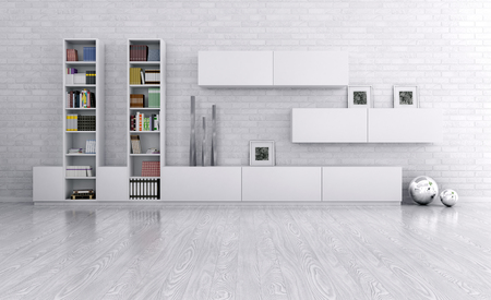 Interieur van een kamer met dressoir over de bakstenen muur 3d render Stockfoto
