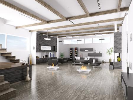 Interieur van de moderne huiskamer 3D render