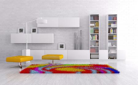 Interieur van een woonkamer met een dressoir, heldere tapijt 3d render Stockfoto