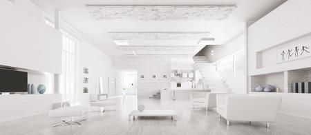 近代的な白いアパート ホール キッチン パノラマ 3 d レンダリング インテリア 写真素材