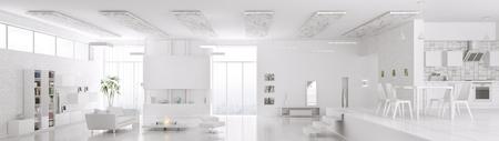 Intérieur blanc la vie en appartement salle de manger cuisine moderne panorama 3D, render Banque d'images - 36820205