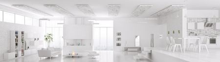 Interior of modern white apartment living room hall kitchen panorama 3d render