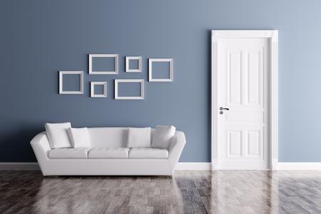 Interno classico di una stanza con porta e divano