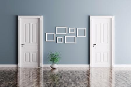 2 つの古典的なドアとフレーム付きの部屋のインテリア 写真素材