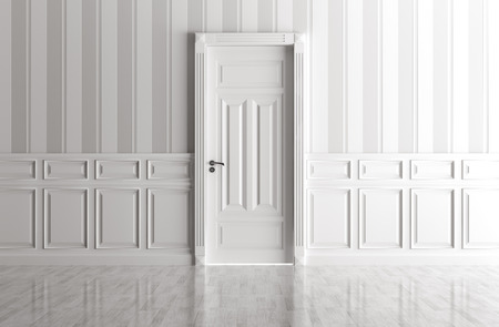 Interior of a white room with classic door