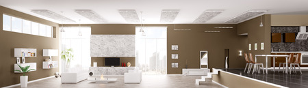 Interior of modern apartment living room hall kitchen panorama 3d render