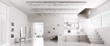 Interior of modern white apartment hall kitchen panorama 3d render