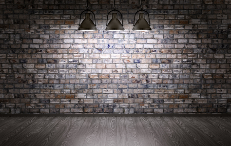 Interior of a room with brick wall and lamps