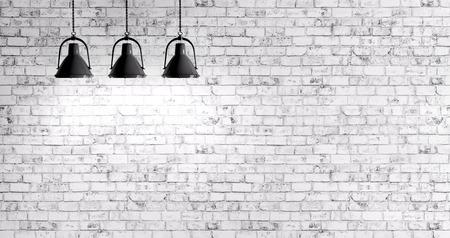 세 개의 램프 배경으로 흰색 벽돌 벽 스톡 콘텐츠