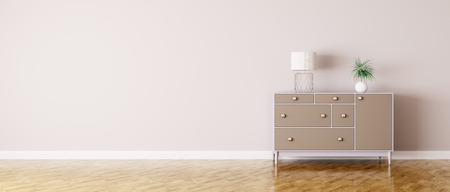 Interior of a room with chest of drawers panorama