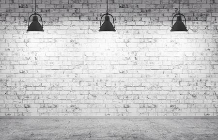 Interieur van een kamer met bakstenen muur, betonnen vloer en lampen 3d render Stockfoto