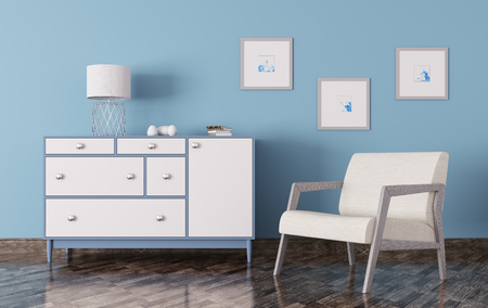 Interior of a living room with chest of drawers and armchair 3d render Foto de archivo