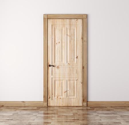 Interior con la puerta clásica de madera de pino natural