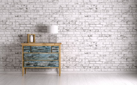Interior of a room with vintage chest of drawers 3d render Foto de archivo