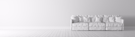 Modern interior of a room with white sofa panorama 3d render