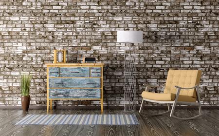 서랍의 빈티지 가슴 룸의 인테리어와 의자를 흔들하는 3d 렌더링