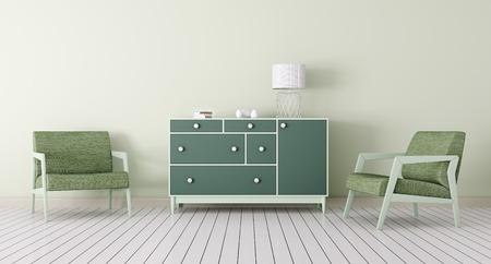 Interieur van een woonkamer met commode, twee fauteuils 3d render