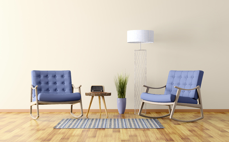 Interior of a living room with two rocking chairs, floor lamp 3d render