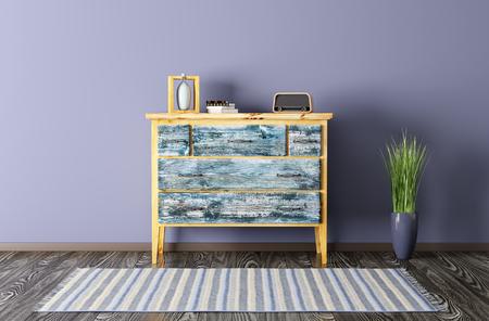 Interieur van een woonkamer met vintage commode en tapijt 3d render