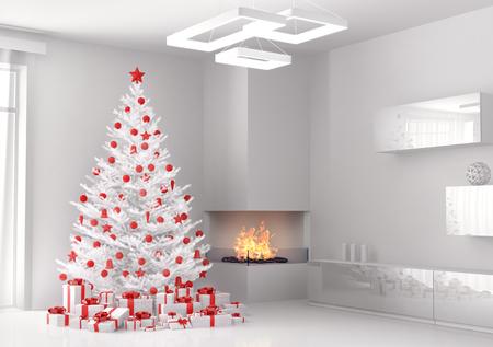 白いクリスマス ツリーとリビング ルームの 3 d レンダリングのギフト 写真素材