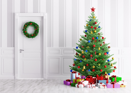 Interior of a room with christmas tree, gifts and wreath on door 3d rendering Foto de archivo